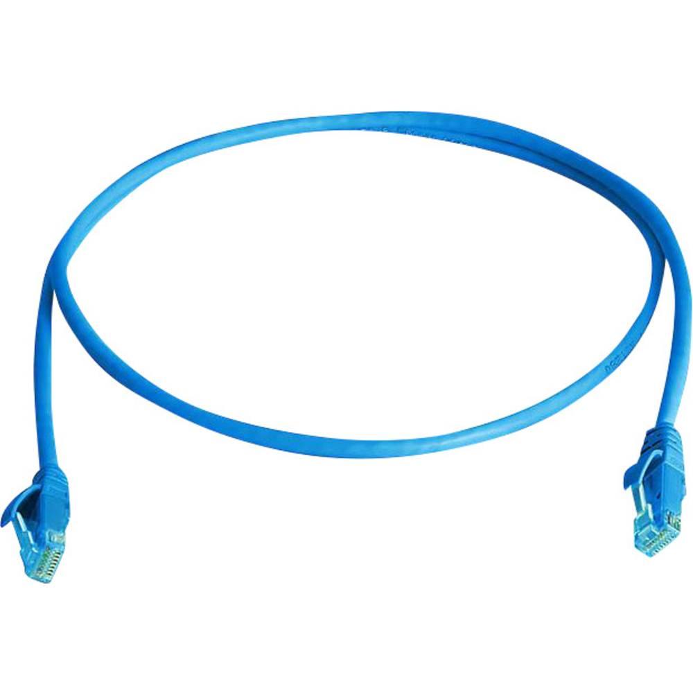 RJ45 omrežni priključni kabel CAT 5e U/UTP 2 m nebeško modre barve z zaščito pred gorenjem, brez halogena Telegärtner