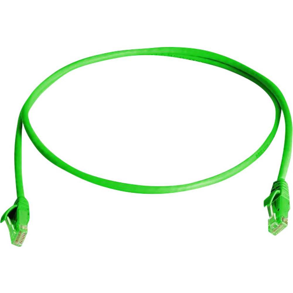 RJ45 omrežni priključni kabel CAT 6 U/UTP 1 m zelene barve z zaščito pred gorenjem, brez halogena Telegärtner