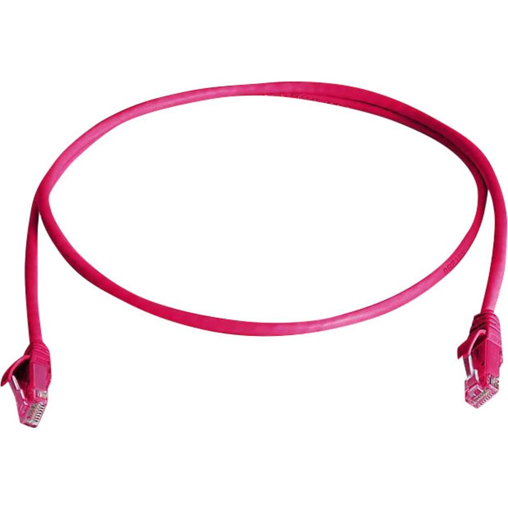 RJ45 omrežni priključni kabel CAT 6 U/UTP 1 m rdeče barve z zaščito pred gorenjem, brez halogena Telegärtner