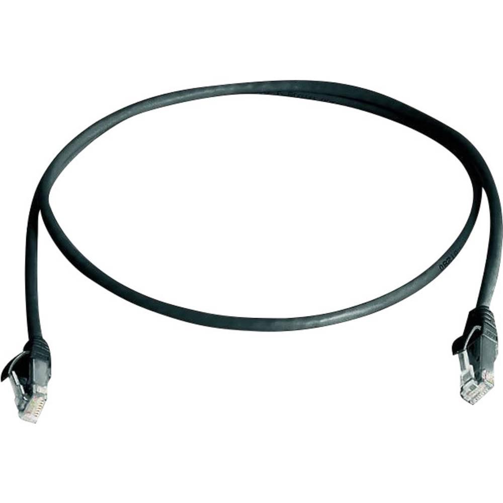RJ45 omrežni priključni kabel CAT 6 U/UTP 1 m črne barve z zaščito pred gorenjem, brez halogena Telegärtner