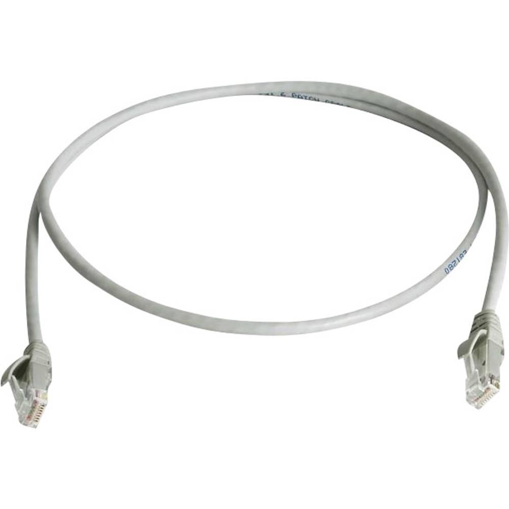 RJ45 omrežni priključni kabel CAT 6 U/UTP 2 m sive barve z zaščito pred gorenjem, brez halogena Telegärtner