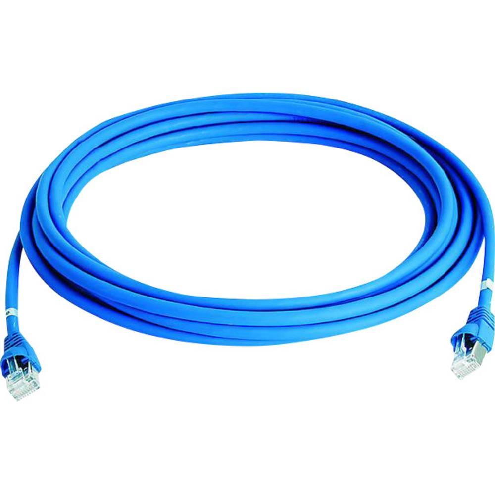 RJ45 omrežni priključni kabel CAT 5e S/FTP 5 m modre barve z zaščito pred gorenjem, brez halogena Telegärtner