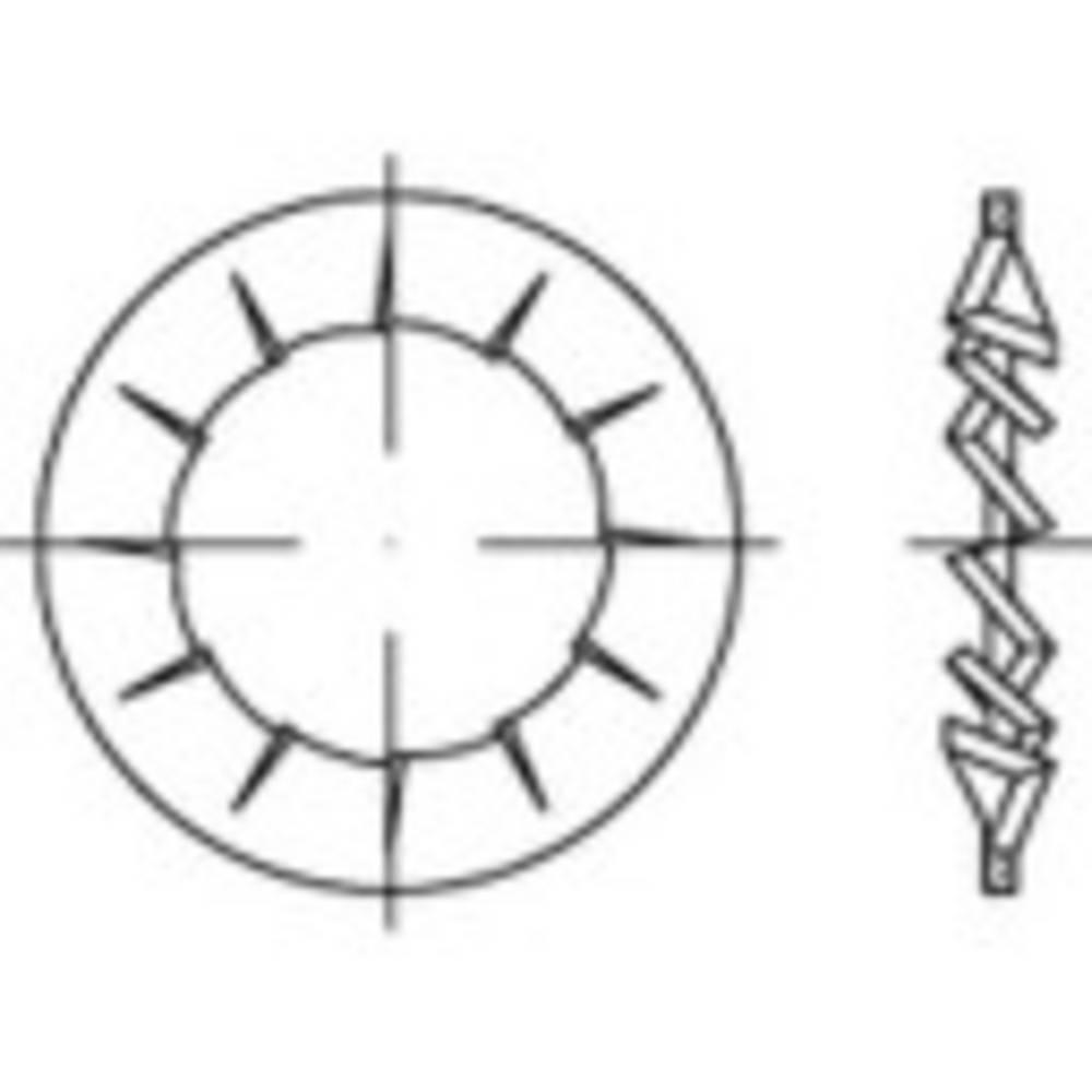 Tandade brickor Inre diameter: 19 mm DIN 6798 Fjäderstål galvaniskt förzinkad 100 st TOOLCRAFT 138481