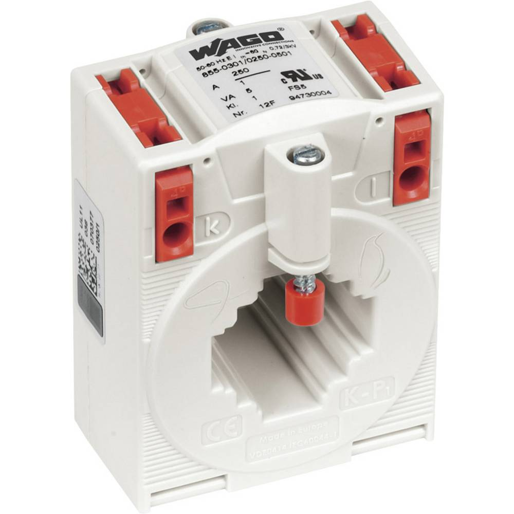 WAGO 855-305/250-501 Tokovni pretvornik, primarni tok:250 A sekundarni tok:5 A premer vhoda kabla :26 mm