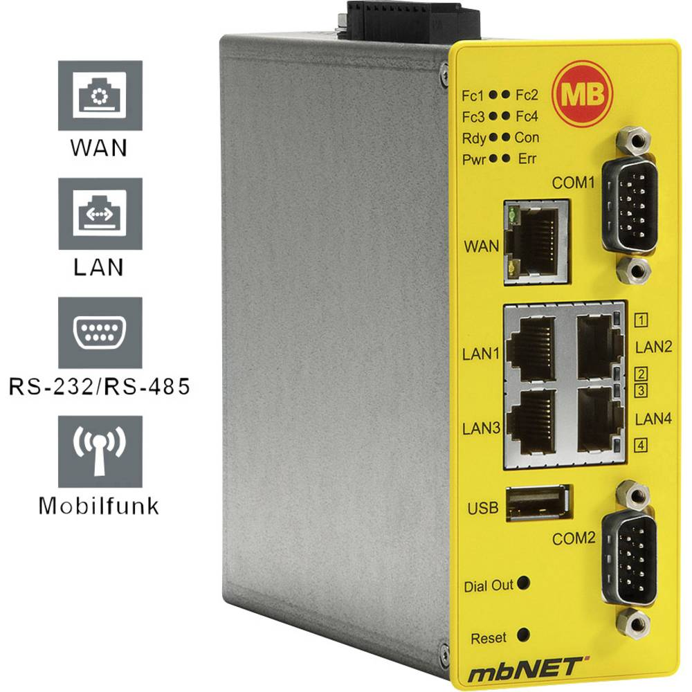 MB Connect Line industrijski router MDH850 WAN / LAN -RS232 -LTE MB Connect Line GmbH 24 V/DC