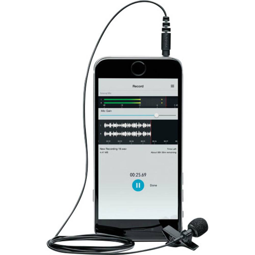 Ansteck Sprach-Mikrofon Shure MVL žični,vključuje kabel in zaščito pred vetrom