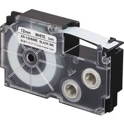 Pisalni trak za fleksibilne kable z ovojem Casio XR-12HMWE Polietilen Barva traku: Bela Barva pisave:Črna 12 mm 5.5 m