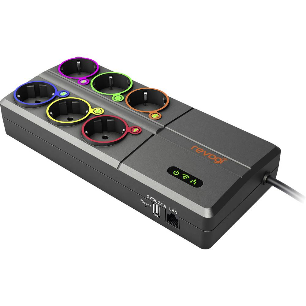 WiFi-razdjelna letva, 6 x utičnica, Antrazit Revogi SOW323