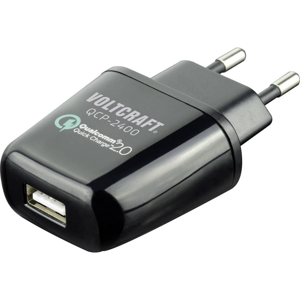 USB-oplader VOLTCRAFT QCP-2400 QCP-2400 Stikdåse Udgangsstrøm max. 2400 mA 1 x USB Qualcomm Quick Charge 2.0