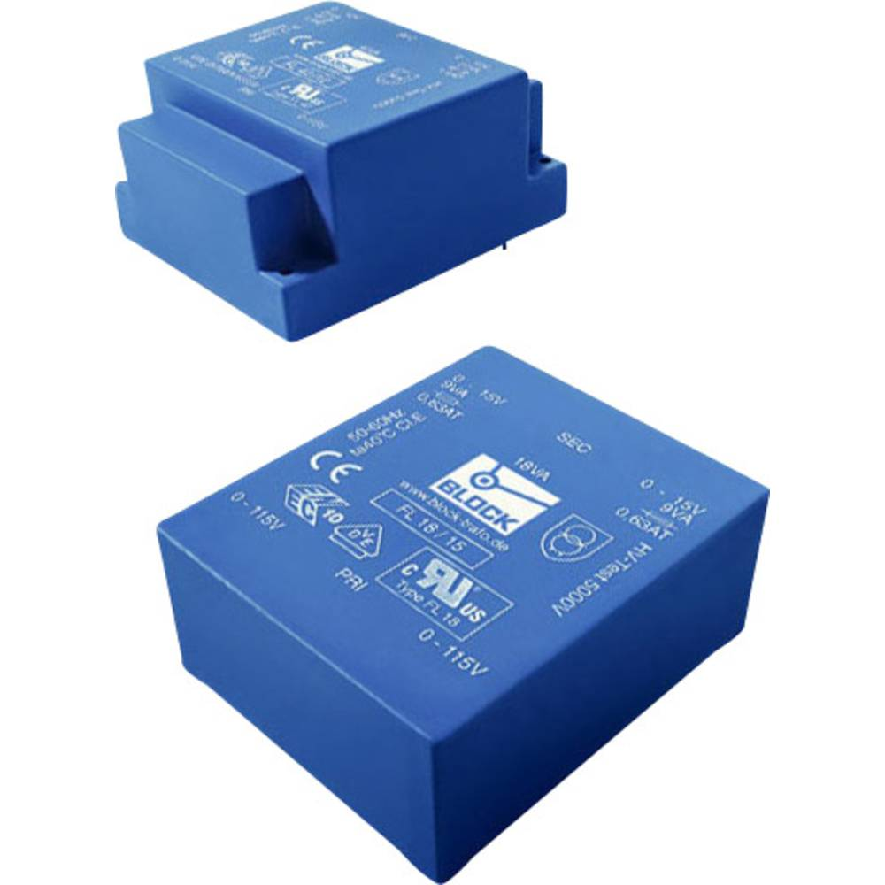 Ul 39/8 ploski transformator, primarna: 2 x 115 V, sekundarna: 2 x 8 VAC 2 x 625 mA 10 VA FL 10/8 blok