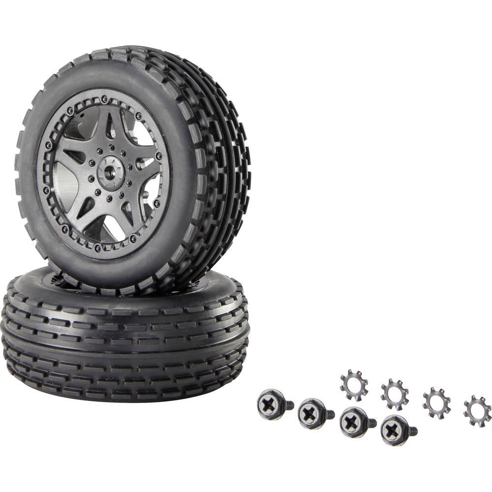 Reely 1:10 XS Buggy, komplet koles Multipin 5-dvojnih krakov črne barve, 1 par