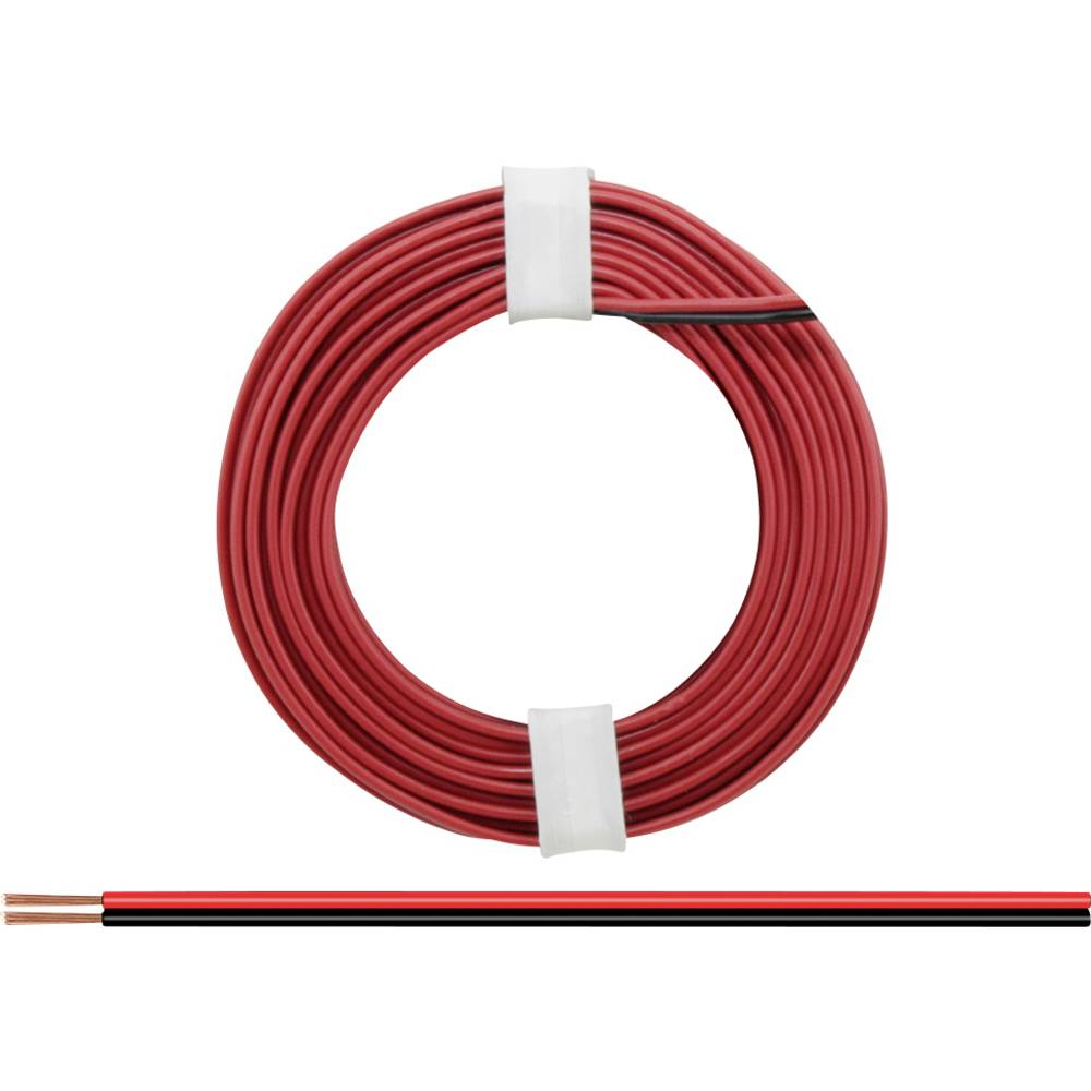 Flätad kabel BELI-BECO L2218/5 2 x 0.14 mm² Röd-svart 5 m