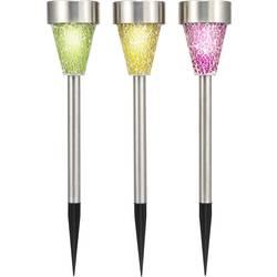 Solarna vrtna svjetiljka Mosaik šarena renkforce LED RGB 3 kom. u setu