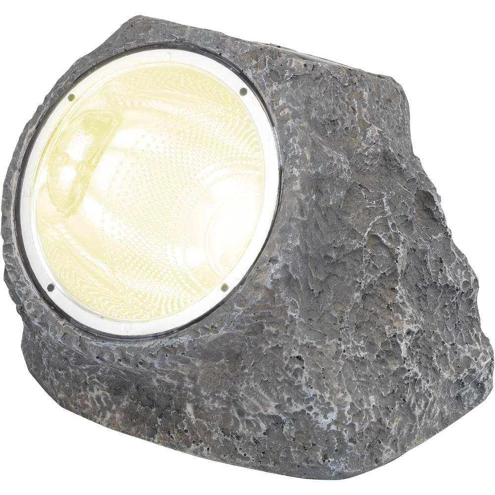 Dekorativna solarna LED-svetilka Renkforce Kamen, bela svetloba, siva