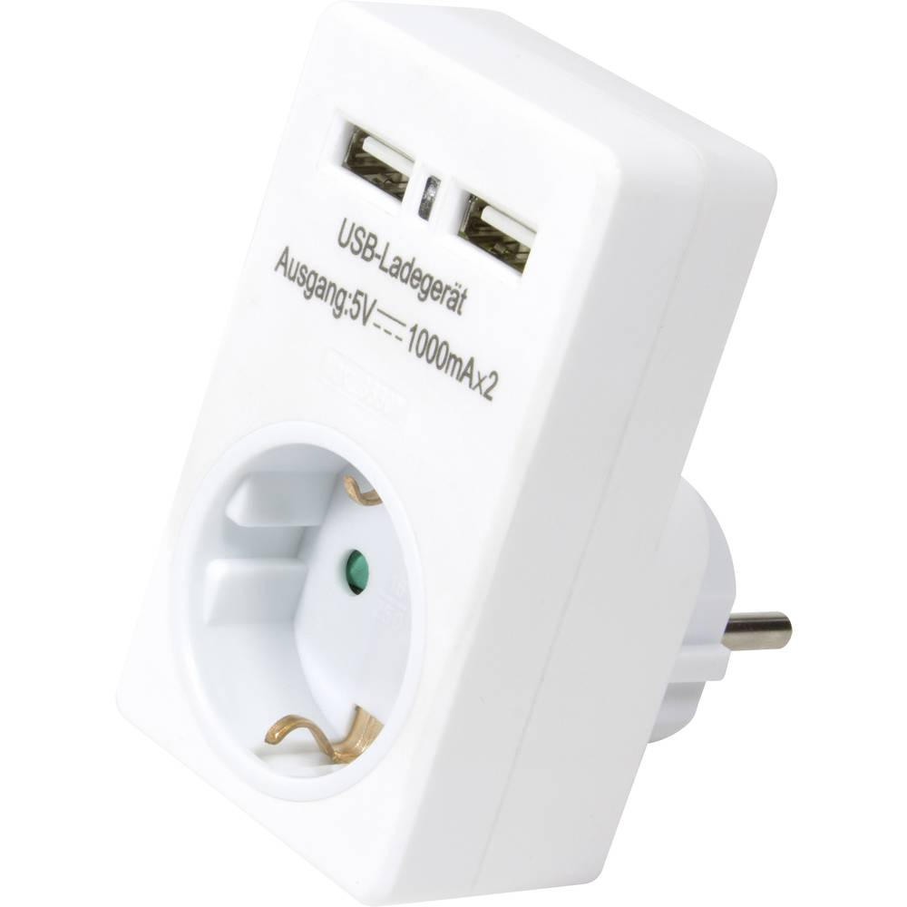 USB polnilna vtičnica LogiLink PA0112, izhodni tok maks. 2000 mA, 2x USB, varnostni vtič