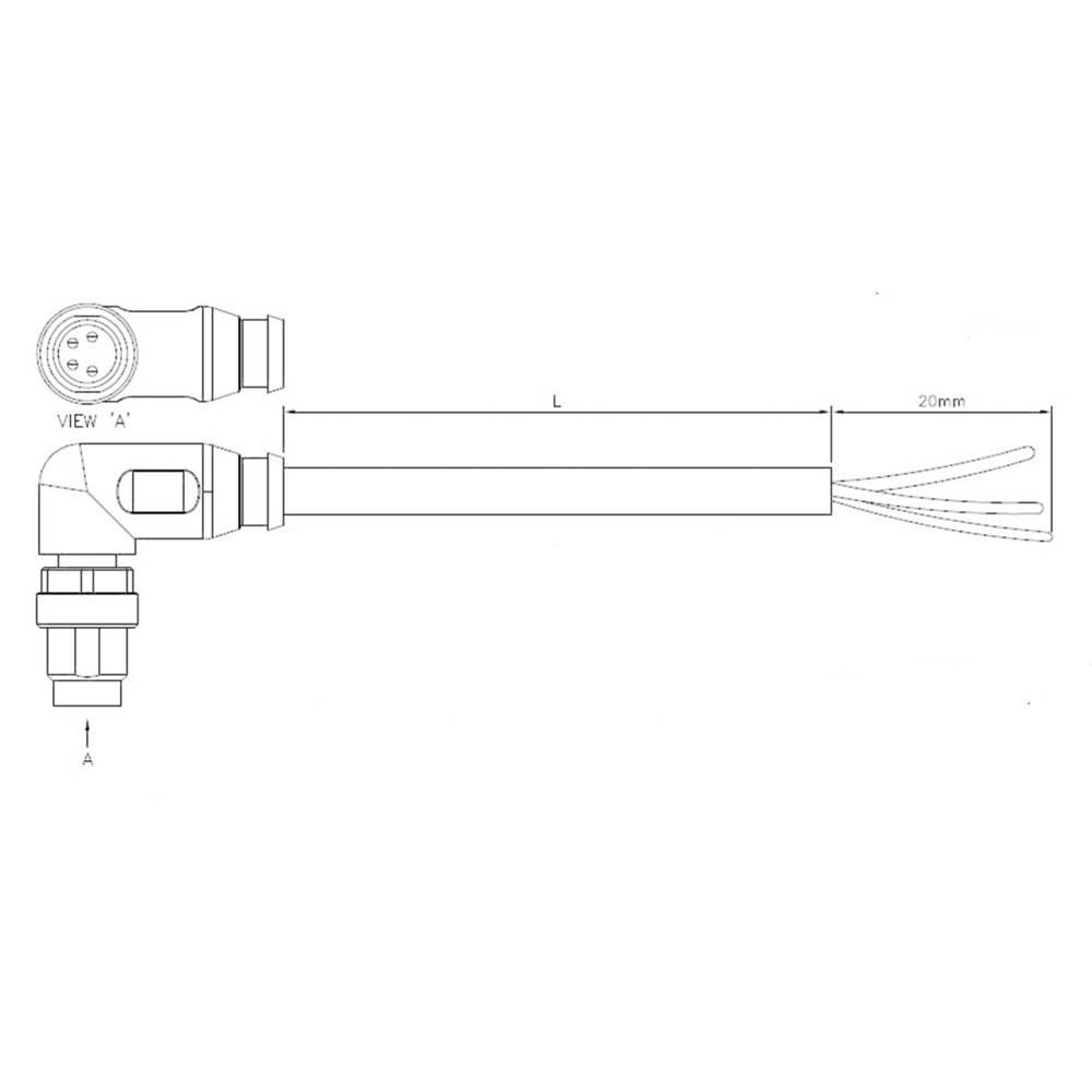 Aktuatorsko-senzorski priključni kabel, kotni vtič M12 z odprtim koncem, št. polov: 5 1-2273088-1 TE Connectivity vsebina: 1 kos