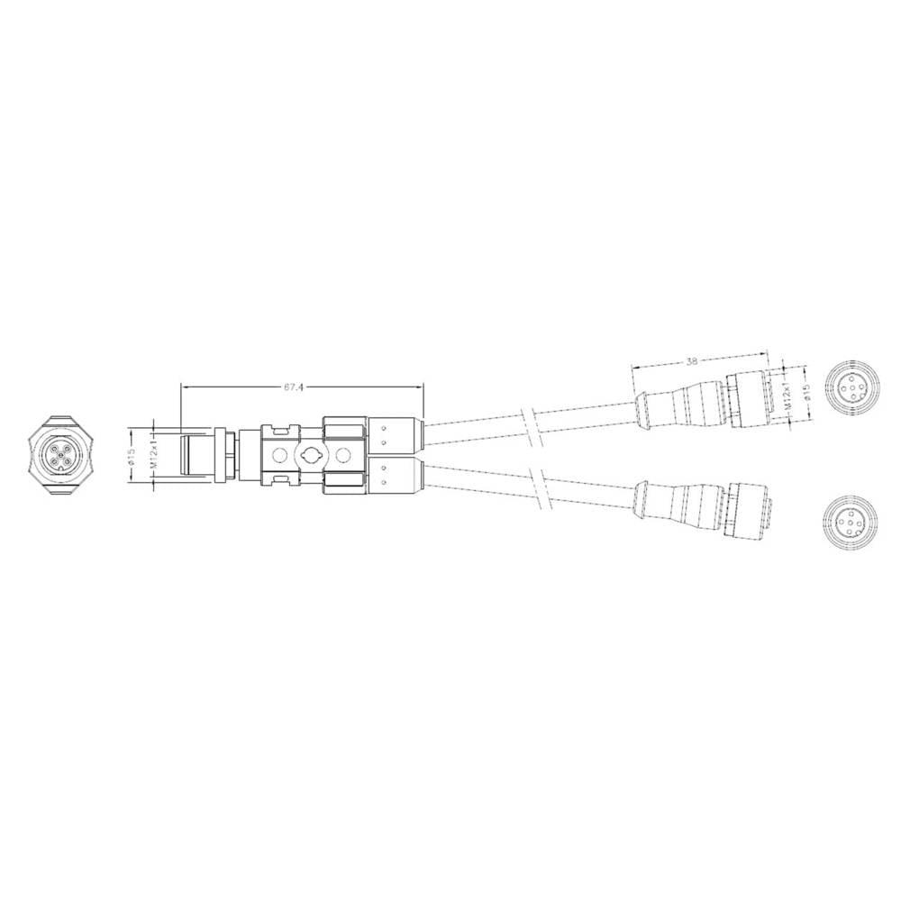 M12 Y-adapter, M12 vtič na 2 x M12 vtičnico št. polov: 43 2273107-4 TE Connectivity vsebina: 1 kos