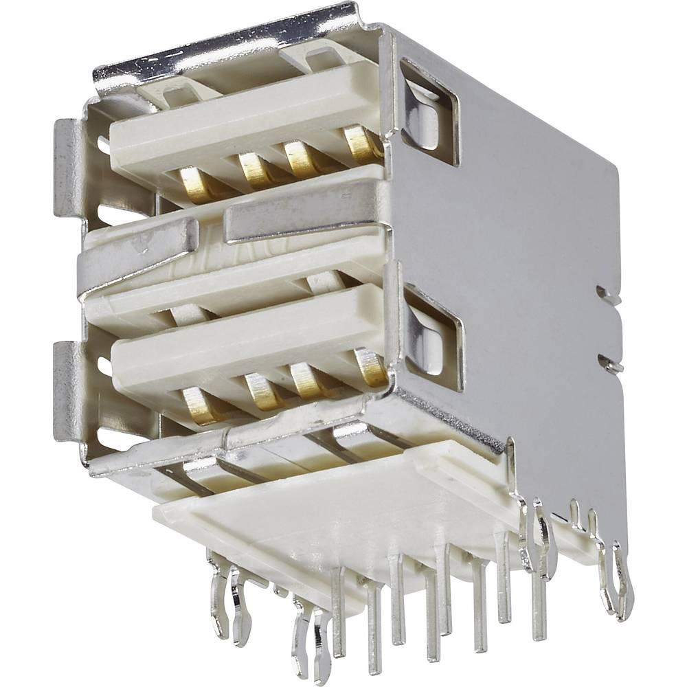 Vgradna vtičnica USB tip A 2.0 vtičnica, vodoravna namestitev, USB 2 vhoda FCI vsebina: 1 kos
