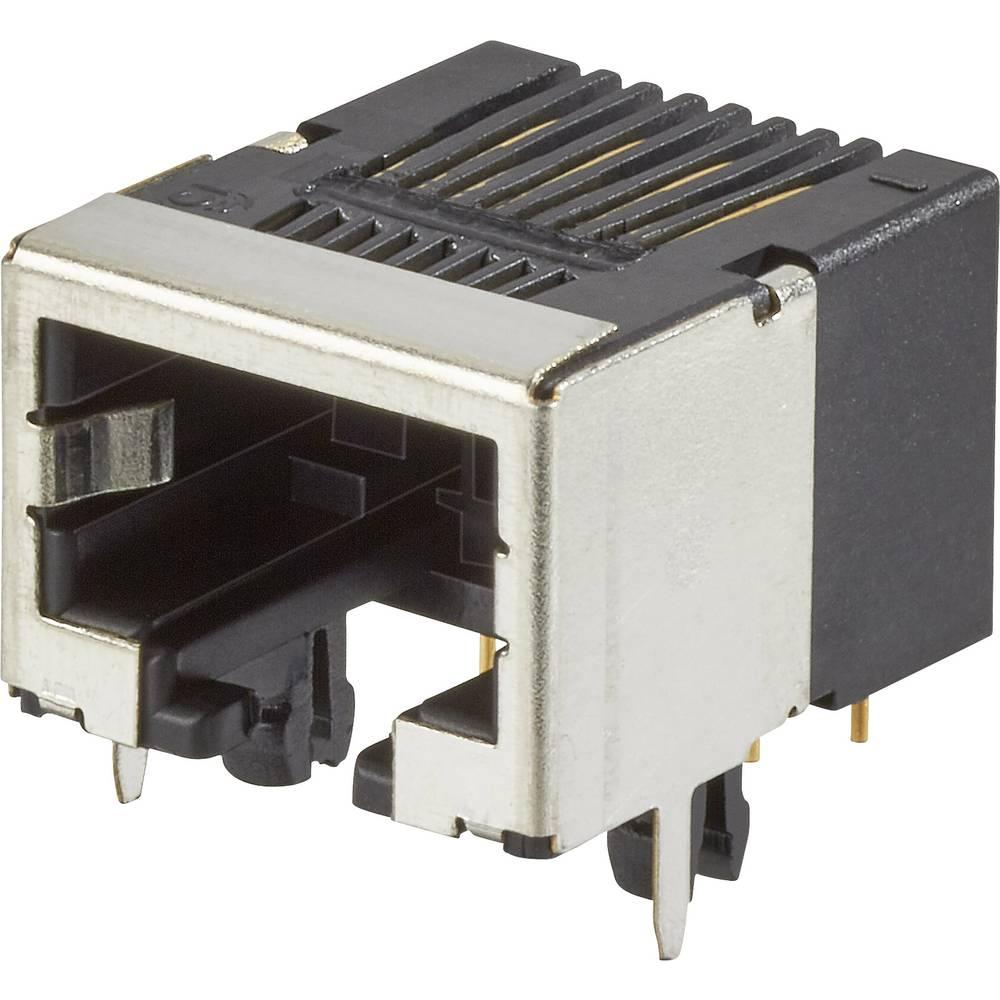 RJ45 vgradna vtičnica, vodoravna namestitev, št. polov: 8P8C modularni priključek, kovinska FCI 92250-088LF 1 kos