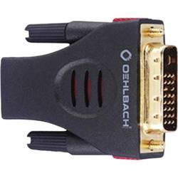 DVI / HDMI adapter [1x DVI-vtič 18+1 polni - 1x VDMI-vtičnica] črne barve s pozlačenimi vtičnimi kontakti Oehlbach