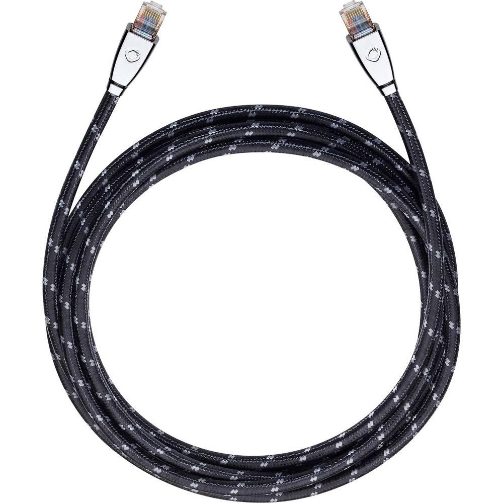 RJ45 omrežni priključni kabel CAT 6 S/FTP 7.50 m črne barve Oehlbach XXL® HYPER STREAM