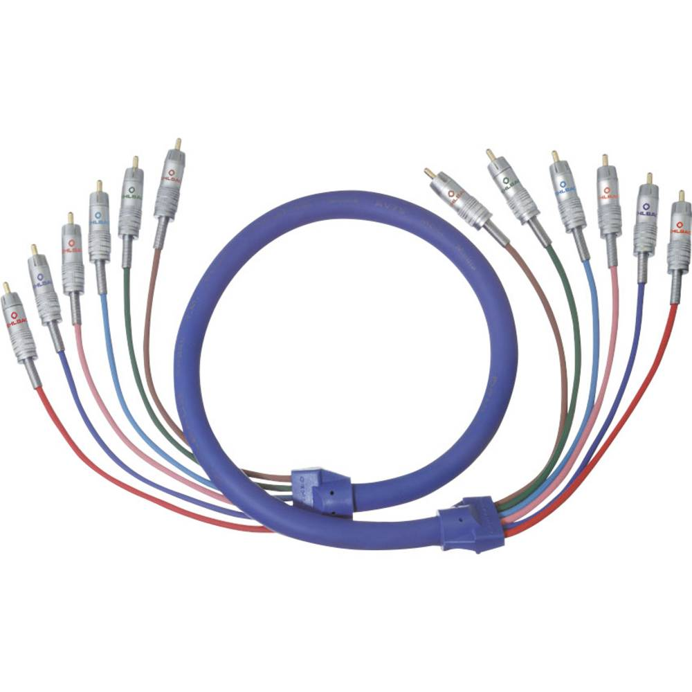 Cinch avdio priključni kabel [6x cinch vtič - 6x cinch vtič] 1 m modra pozlačeni kontakti Oehlbach BLUE MAGIC 5.1