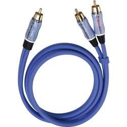 Nizkotonski zvočnik Y-Cinch-Kabel [2x cinch vtič - 1x cinch vtič] 5 m modra pozlačeni kontakti Oehlbach BOOOM!
