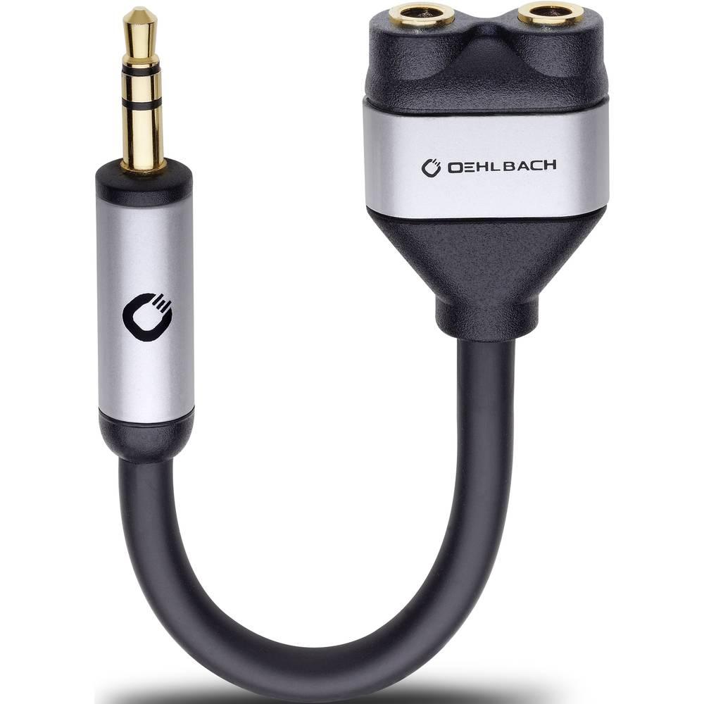 Cinch avdio Y-Adapter [1x Cinch vtič 3.5 mm - 2x Cinch vtičnica 3.5 mm] črna Oehlbach i-Connect J-AD