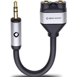 Cinch avdio Y-Adapter [1x Cinch vtič 3.5 mm - 2x Cinch vtičnica 3.5 mm] črna Oehlbach i-Connect J-AD