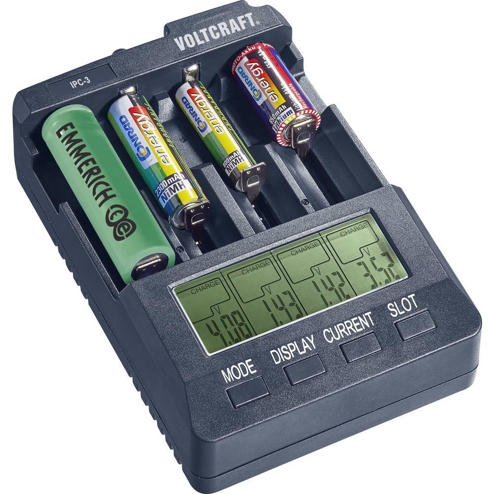 Polnilna naprava za okrogle baterije VOLTCRAFT IPC-3 10440, 14500, 16340, 16650, 17355, 17500, 17670, 18490, 18500, 18650, 22650