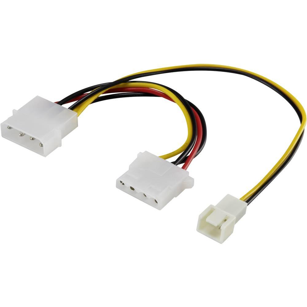 PC ventilator Y-kabel [1x PC-ventilator utikač 3pol. - 1x IDE-strujna utičnica 4pol., IDE-strujni utikač 4pol.] 0.20 m crni, crv