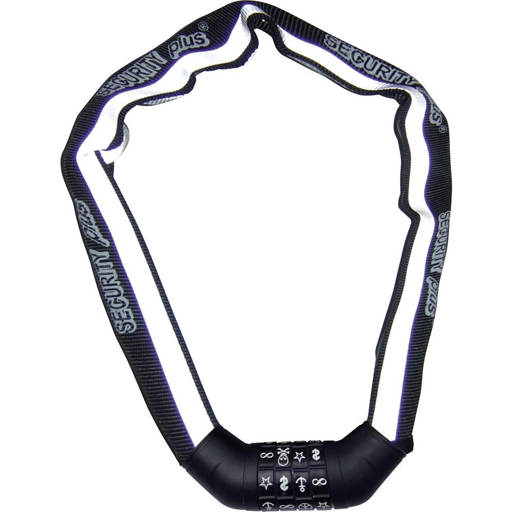 Verižna ključavnica Security Plus SKS 100 črne barve, bele barve, ključavnica s simbolom