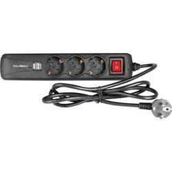 Stikdåse med afbryder Schuko Adam Hall 8747 S 3 USB 3x Sort Stik med jordkontakt