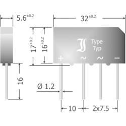 Mostični usmernik Diotec B500C5000-3300A SIL-4 1000 V 5 A enofazni