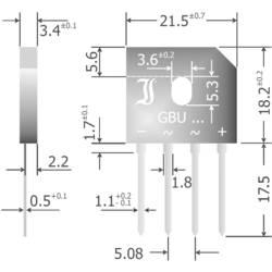 Mostični usmernik Diotec GBU6M SIL-4 1000 V 6 A enofazni
