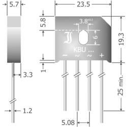 Mostični usmernik Diotec KBU6D SIL-4 200 V 6 A enofazni