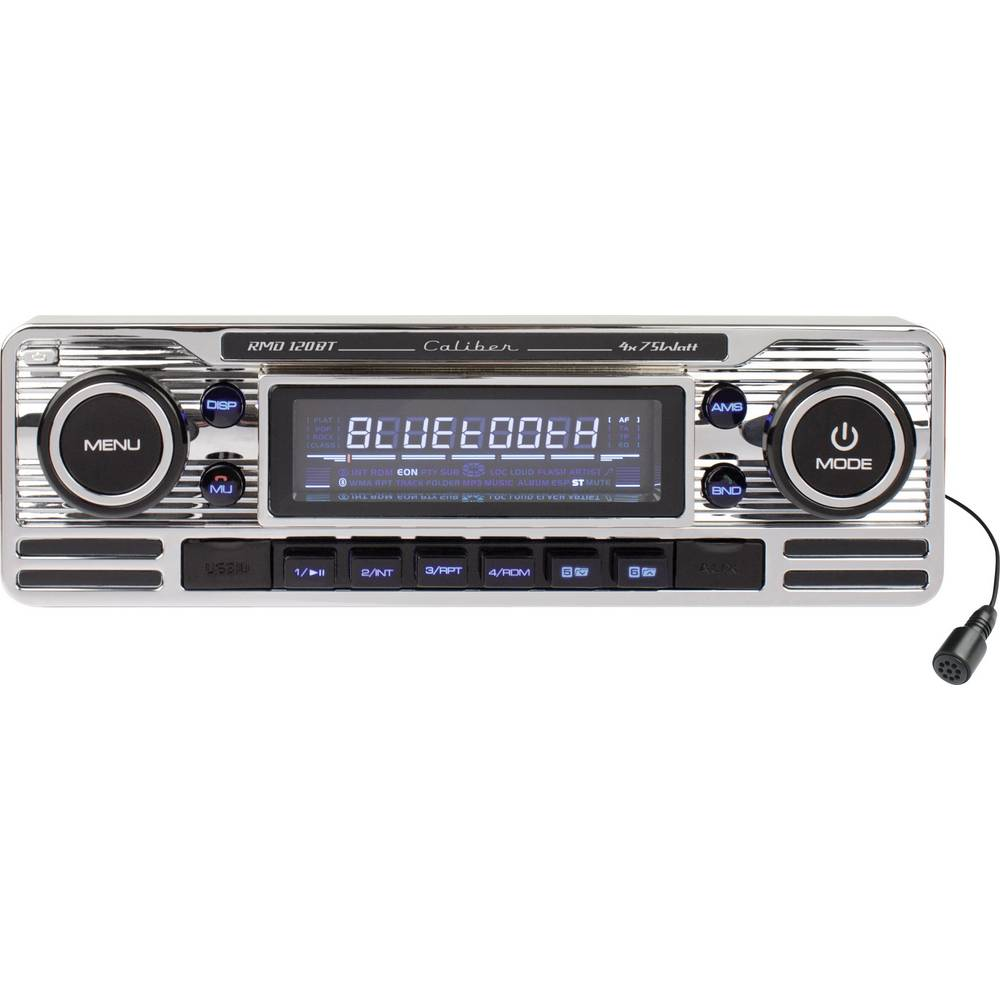 Bilradio Caliber Audio Technology RMD-120BT Retro design, Håndfrit Bluetooth®-system