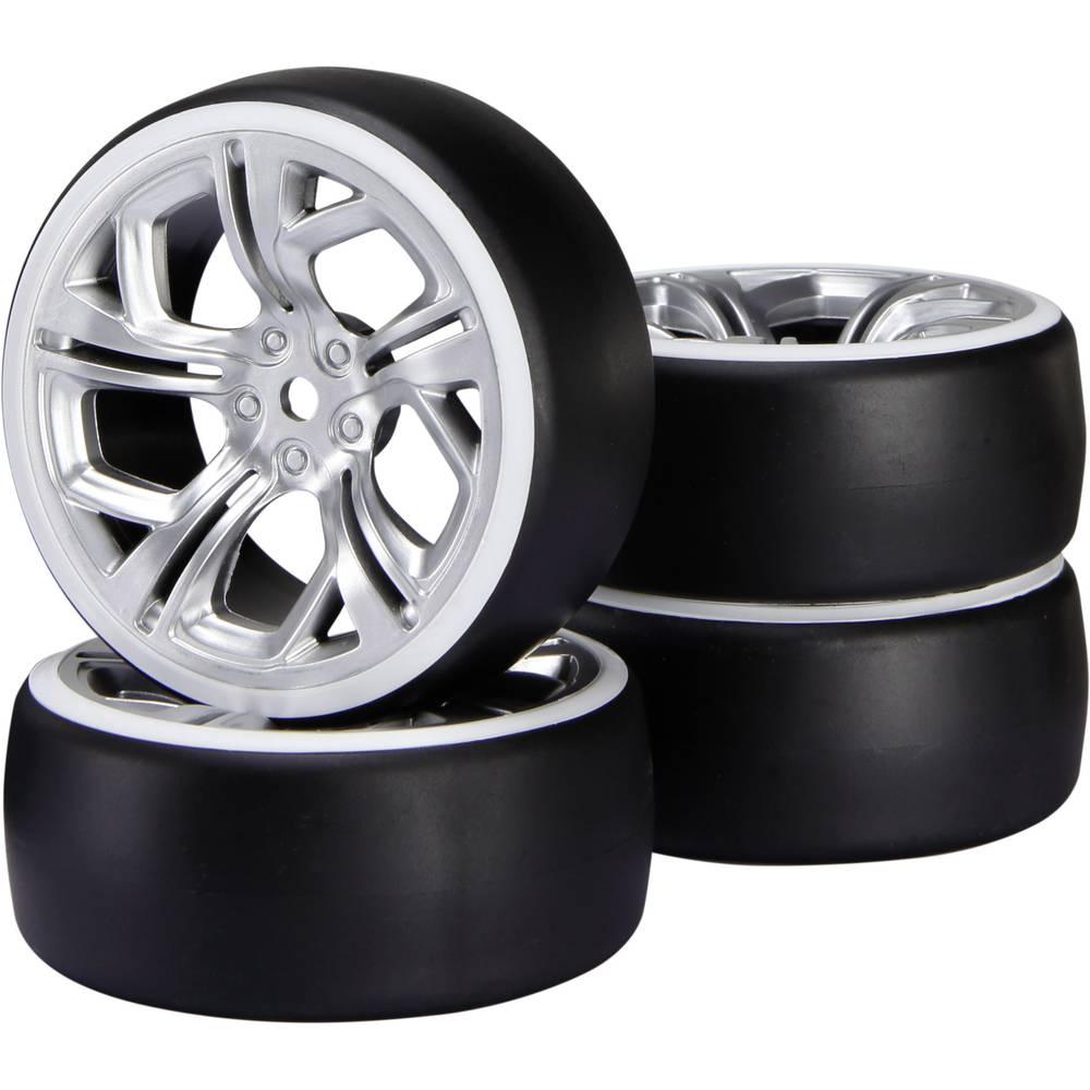 Reely 1:10 cestni model, komplet koles Drift Y-kraki srebrne barve, 1 kos