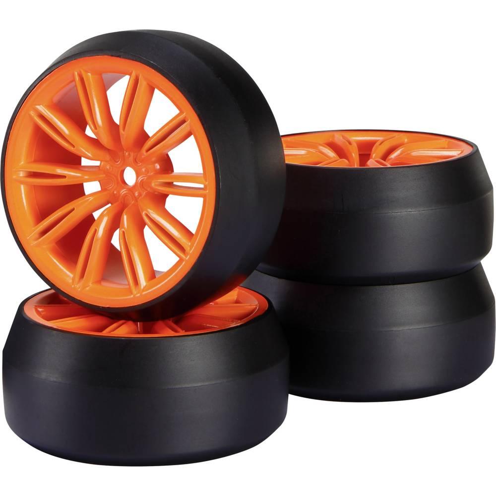 Reely 1:10 cestni model, komplet koles Drift 10-dvojnih krakov Signal-rdeče barve, 1 kos