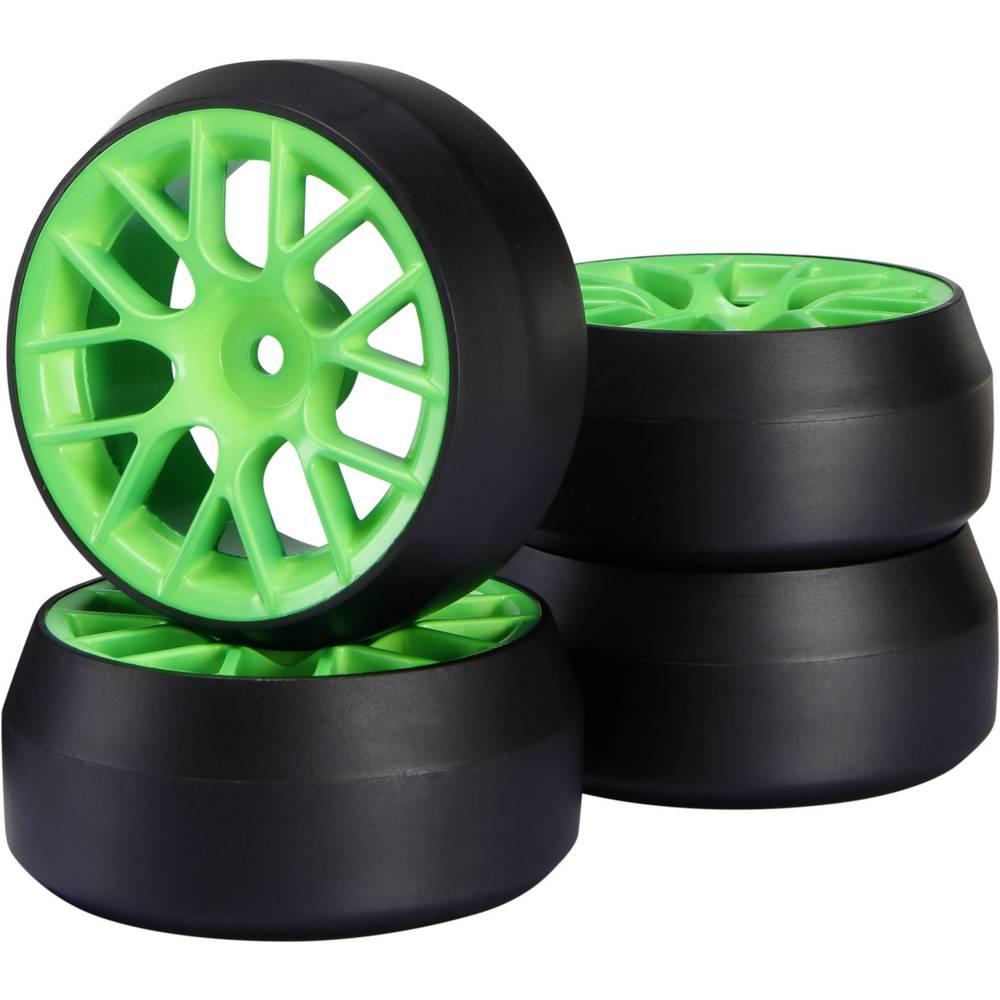 Reely 1:10 cestni model, komplet koles Drift Y-kraki zelene barve, 1 kos