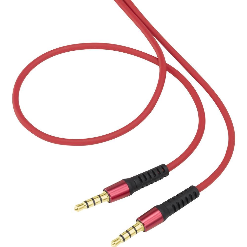 Cinch avdio priključni kabel [1x cinch vtič 3.5 mm - 1x cinch vtič 3.5 mm] 0.50 m rdeča super mehek ovoj, pozlačeni kontakti Spe