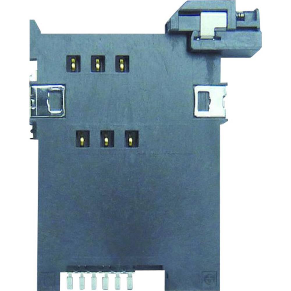 SIM Kort-sokkel Antal kontakter: 6 Skub Yamaichi FMS006-2310-0 1 stk