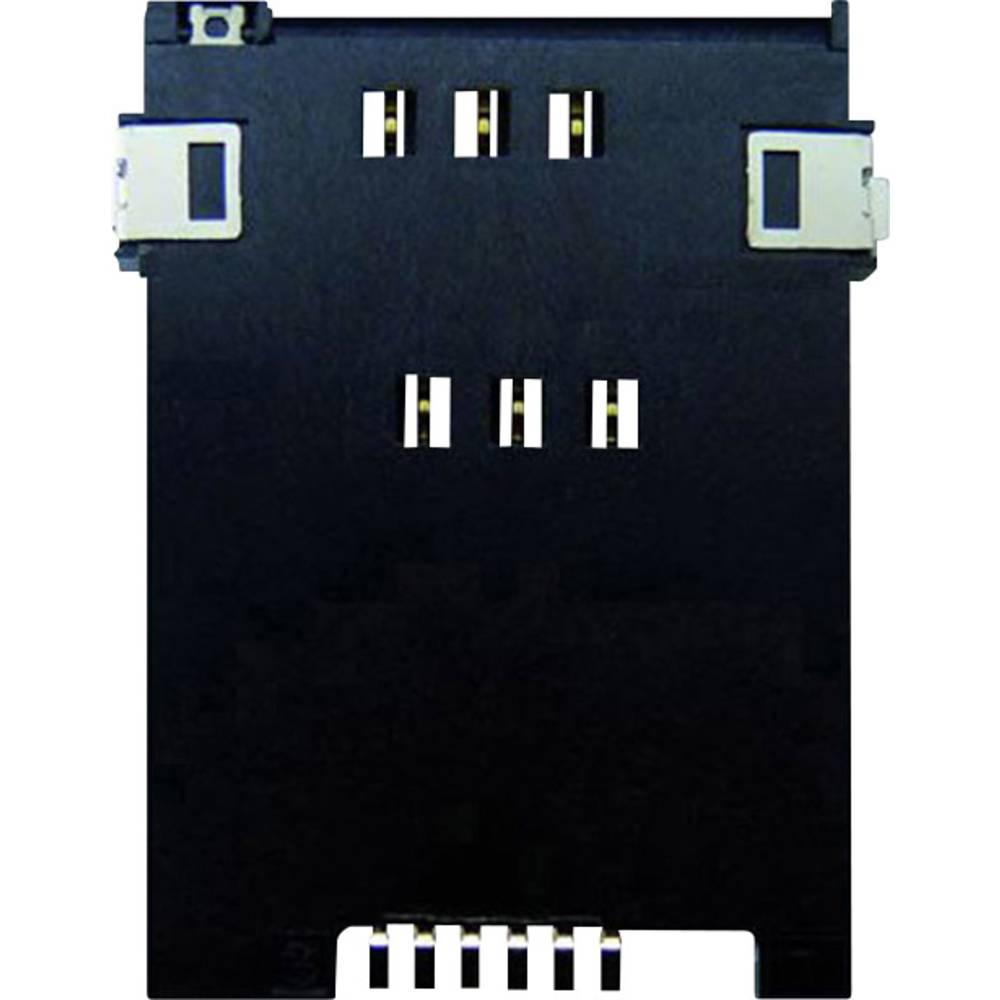 SIM Kort-sokkel Antal kontakter: 6 + 2 Skub , Skub Yamaichi FMS006Z-2001-1 Inkl. kontakt 1 stk