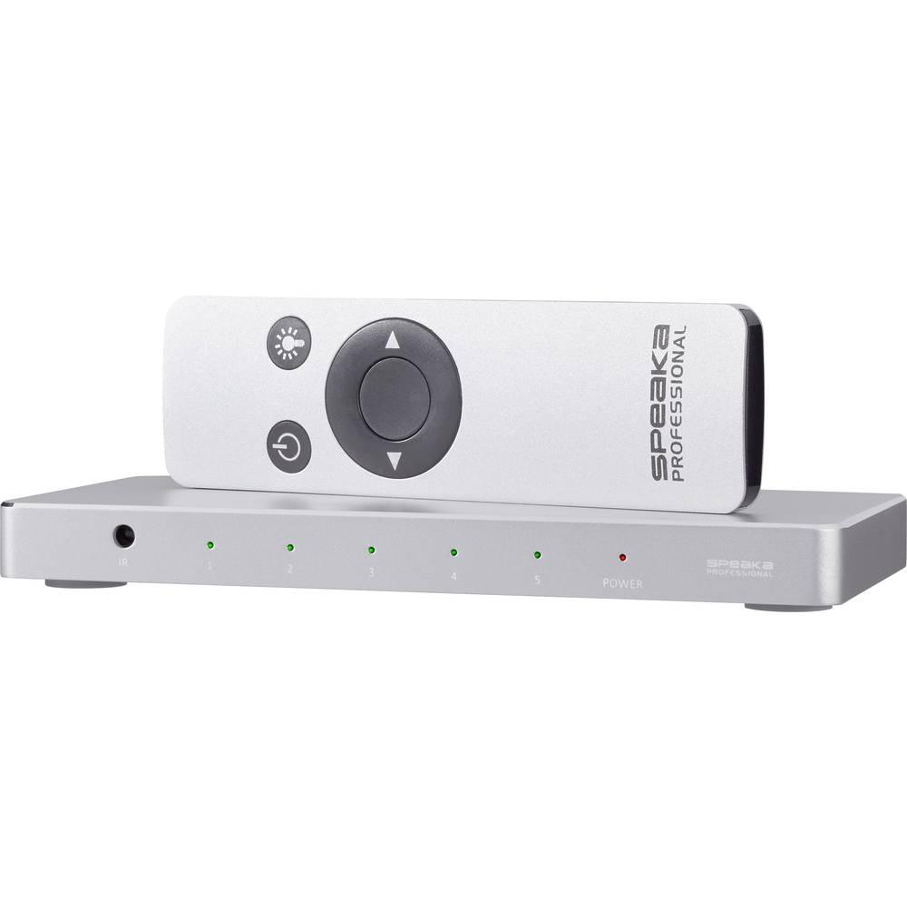 5 portni HDMI-prekidač SpeaKa Professional aluminijsko kućište, daljinski upravljač, Ultra HD spreman 3840 x 2160 piknjica