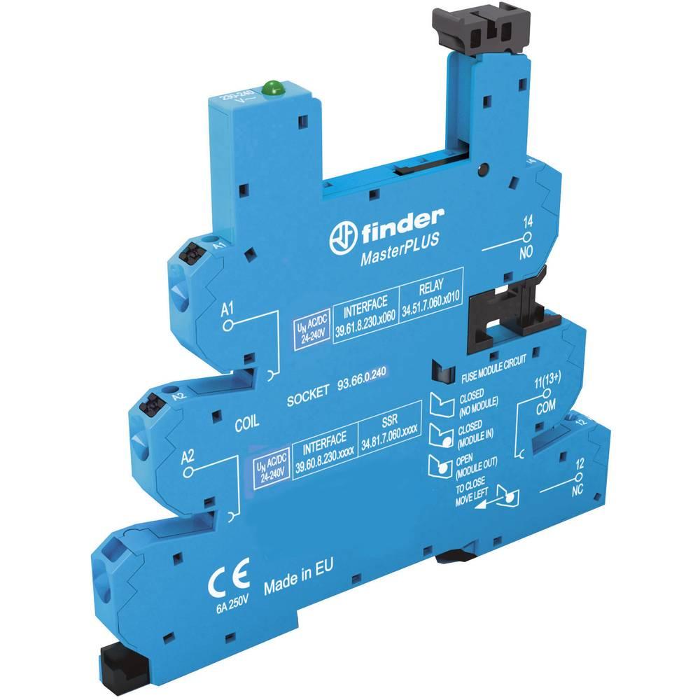 Relaissockel (value.1292916) med holdebøjle, med LED, med EMC-bestykning af relæspolen 1 stk Finder 93.66.0.240 Passer til serie