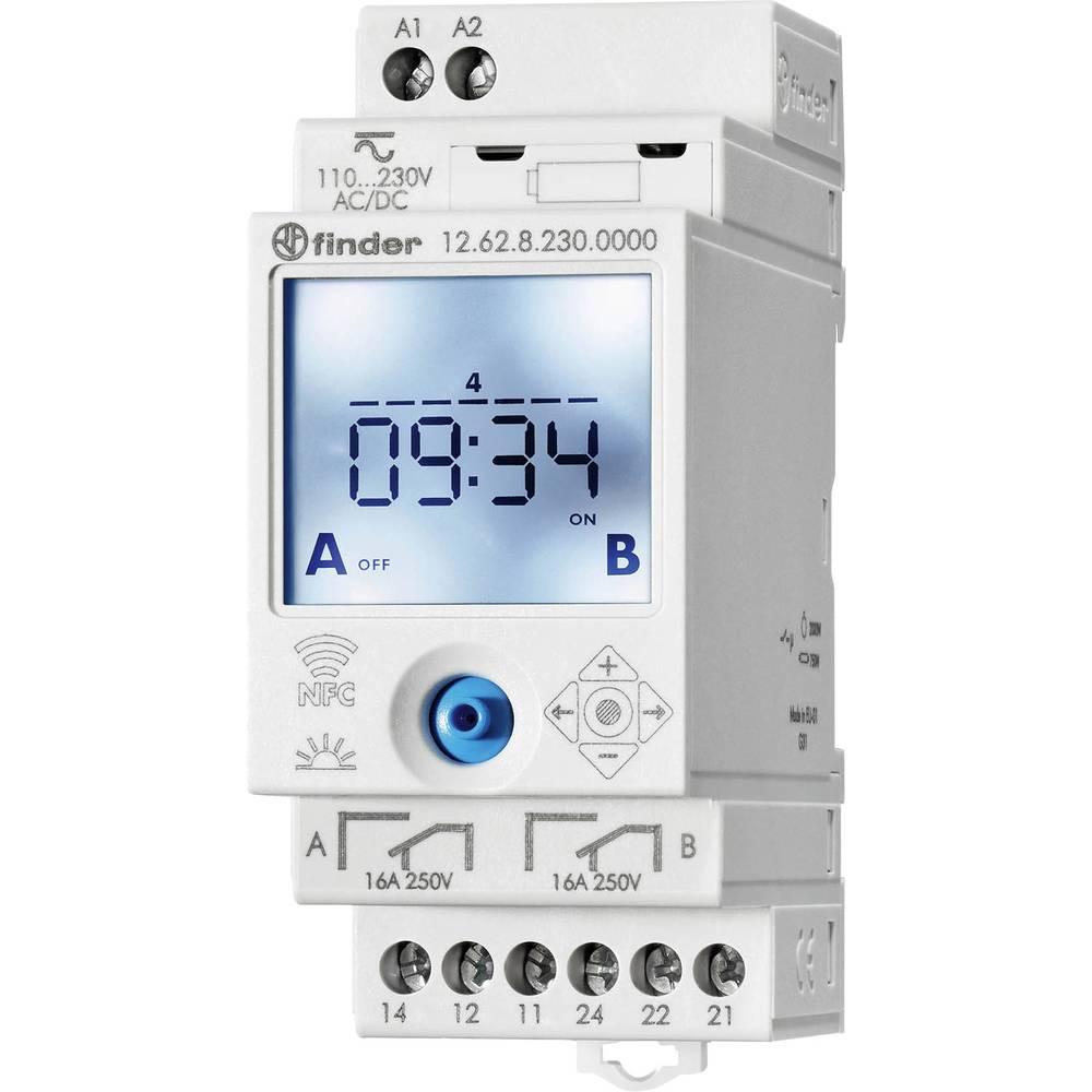 Uklopni sat za profilnu šinu 12.62.8.230.0000 Finder radni napon: 230 V/DC, 230 V/AC 2 izmjenična kontakta 16 A 250 V/AC tjedni