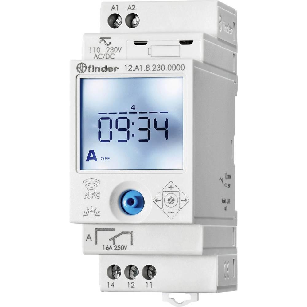 Uklopni sat za profilnu šinu 12.A1.8.230.0000 Finder radni napon: 230 V/AC 1 izmjenični kontakt 16 A 250 V/AC astronomski, tjedn