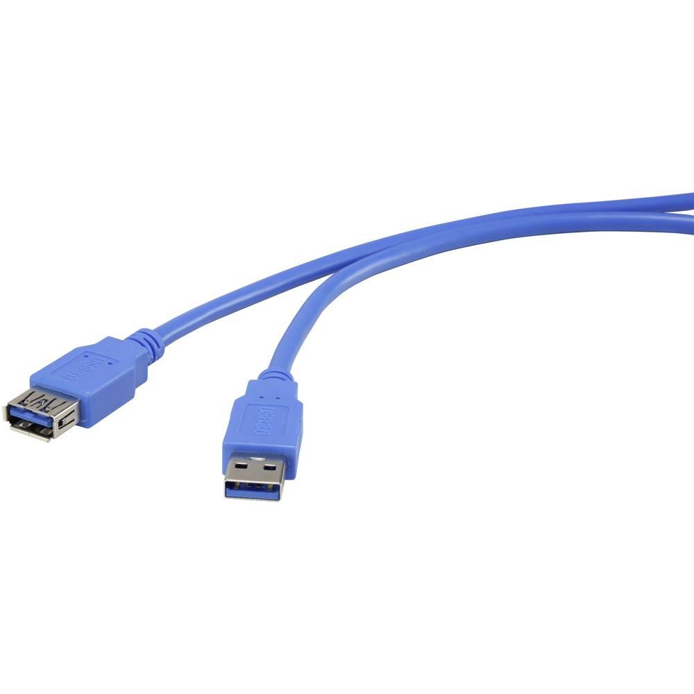 USB 3.0 kabelski podaljšek [1x USB 3.0 vtič A - 1x USB 3.0 vtičnica A] 1.80 m modre barve, pozlačeni kontakti renkforce