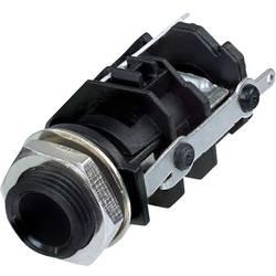 Klinken vtični konektor, 6.35 mm vtičnica, vgradna, pokončna, št. polov: 3 stereo, črne barve Rean AV RJ3VI-S-CON 1 kos