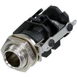 Klinken vtični konektor, 6.35 mm vtičnica, vgradna, pokončna, št. polov: 3 stereo, črne barve Rean AV RJ3VM-S-CON 1 kos